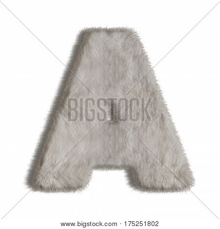 Natural fur style alphabet. Letter A isolated on white background.
