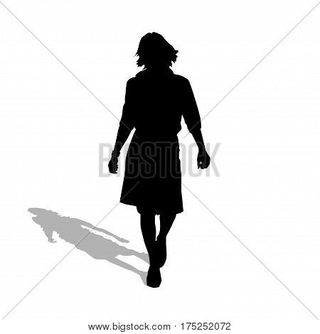 Illustration silhouette of a woman walking on a white background.