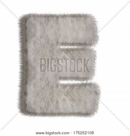 3d decorative animal fur letter E isolated on white background