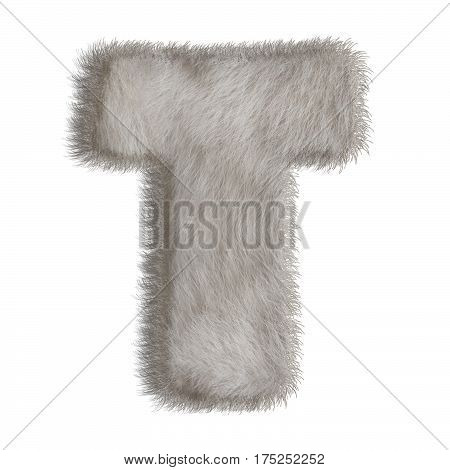 3d decorative animal fur letter T isolated on white background