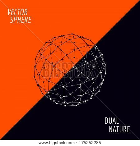 Vector 3d sphere. Concept design vector illustration. Sphere consists of two parts on orange and dark background.