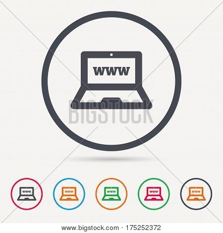 Computer icon. Notebook or laptop pc symbol. Round circle buttons. Colored flat web icons. Vector