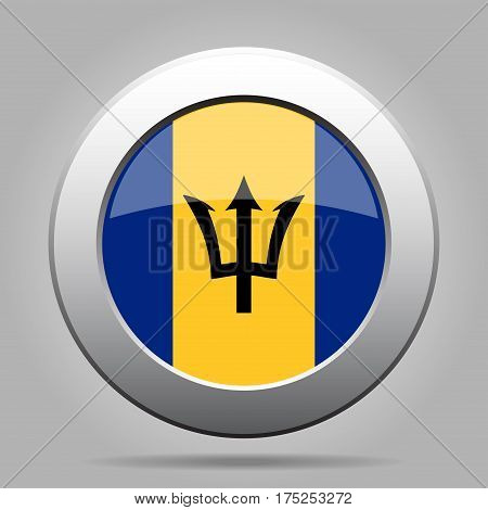 National flag of Barbados. Shiny metal gray round button with shadow.