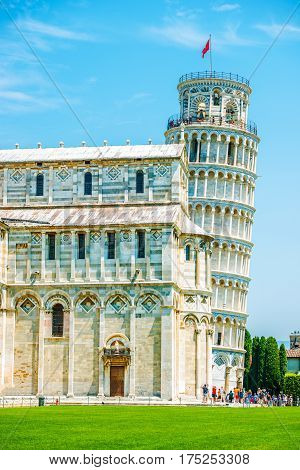 Leaning Pisa Tower in Summer. Pisa Toscany Northern Italy.