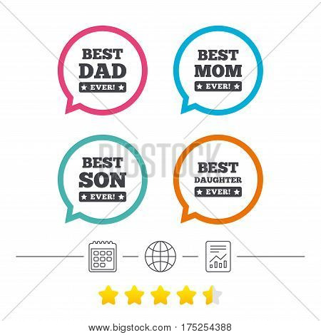 Best mom and dad, son and daughter icons. Awards with exclamation mark symbols. Calendar, internet globe and report linear icons. Star vote ranking. Vector