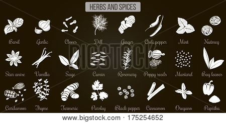 Big Set Of Simple Flat Culinary Herbs And Spices. White Silhouettes On Black