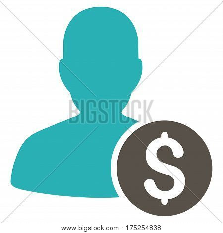 Investor vector pictograph. Illustration style is a flat iconic bicolor grey and cyan symbol on white background.