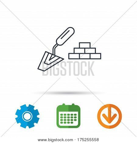 Finishing icon. Spatula with bricks sign. Calendar, cogwheel and download arrow signs. Colored flat web icons. Vector