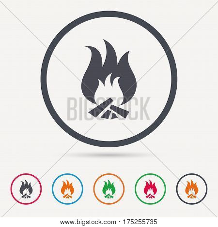 Fire icon. Blazing bonfire flame symbol. Round circle buttons. Colored flat web icons. Vector