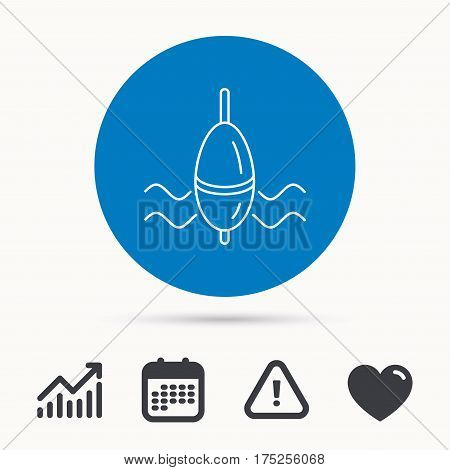 Fishing float icon. Bobber in waves sign. Angling symbol. Calendar, attention sign and growth chart. Button with web icon. Vector