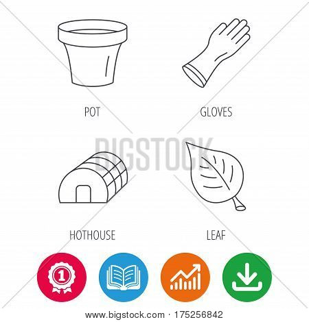 Leaf, scissors and pot icons. Hothouse linear sign. Award medal, growth chart and opened book web icons. Download arrow. Vector