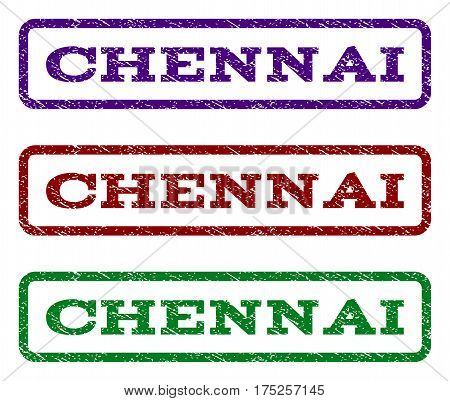 Chennai watermark stamp. Text caption inside rounded rectangle frame with grunge design style. Vector variants are indigo blue, red, green ink colors. Rubber seal stamp with dust texture.