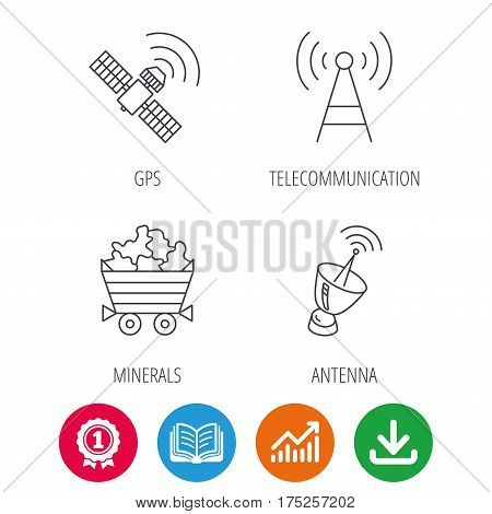 Telecommunication, minerals and antenna icons. GPS satellite linear sign. Award medal, growth chart and opened book web icons. Download arrow. Vector