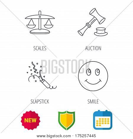 Scales of justice, auction hammer and slapstick icons. Smiling face linear sign. Shield protection, calendar and new tag web icons. Vector