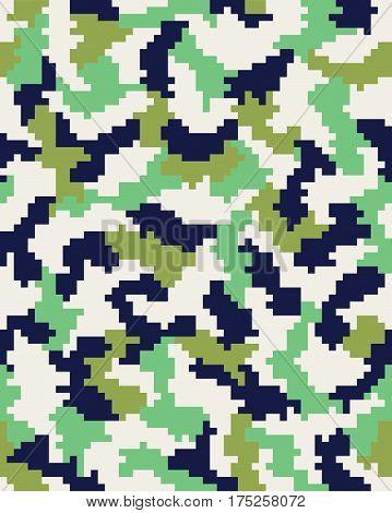 Seamless of digital fashion green camouflage pattern
