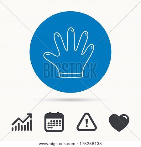 Rubber gloves icon. Latex hand protection sign. Housework cleaning equipment symbol. Calendar, attention sign and growth chart. Button with web icon. Vector