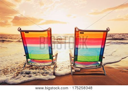 Hawaiian Vacation Sunset Concept Two Beach Chairs at Sunset