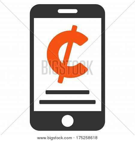 Cent Mobile Payment vector pictogram. Illustration style is a flat iconic bicolor orange and gray symbol on white background.