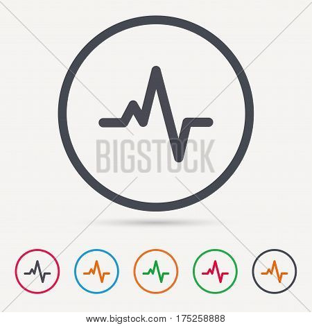 Heartbeat icon. Cardiology symbol. Medical pressure sign. Round circle buttons. Colored flat web icons. Vector