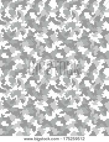 Illustration of seamless pattern of digital gray camouflage