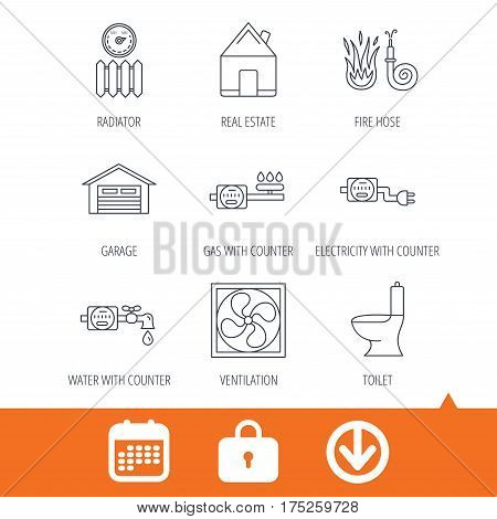 Ventilation, garage and heat radiator icons. Gas, water and electricity counter linear signs. Real estate, toilet and fire hose icons. Download arrow, locker and calendar web icons. Vector