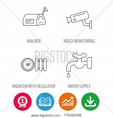 Water supply, video camera and mailbox icons. Radiator with regulator linear sign. Award medal, growth chart and opened book web icons. Download arrow. Vector