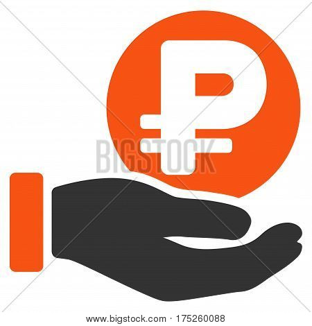 Rouble Coin Payment Hand vector pictograph. Illustration style is a flat iconic bicolor orange and gray symbol on white background.