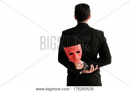 Business Man Carrying Red Mask