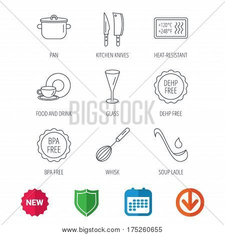 Kitchen knives, glass and pan icons. Food and drink, coffee cup and whisk linear signs. Soup ladle, heat-resistant and DEHP, BPA free icons. New tag, shield and calendar web icons. Download arrow