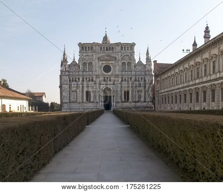 Certosa Di Pavia. Picture Of The Church Inside The Large Garden.