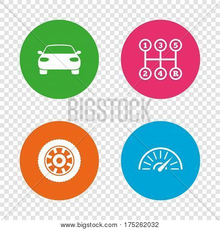 Transport icons. Car tachometer and mechanic transmission symbols. Wheel sign. Round buttons on transparent background. Vector