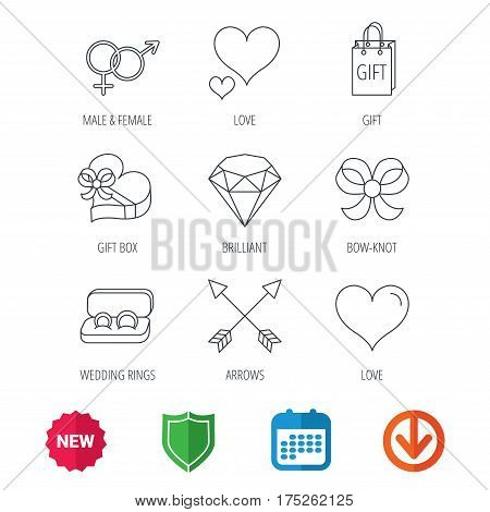 Love heart, gift box and wedding rings icons. Bow and engagement linear signs. Valentine amour arrows, brilliant flat line icons. New tag, shield and calendar web icons. Download arrow. Vector