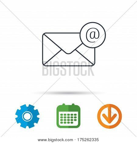 Envelope mail icon. Email message with AT sign. Internet letter symbol. Calendar, cogwheel and download arrow signs. Colored flat web icons. Vector