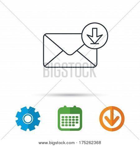 Mail inbox icon. Email message sign. Download arrow symbol. Calendar, cogwheel and download arrow signs. Colored flat web icons. Vector