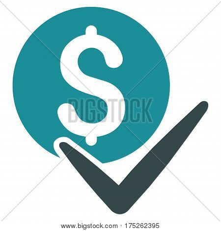 Accept Payment vector pictogram. Illustration style is a flat iconic bicolor soft blue symbol on white background.