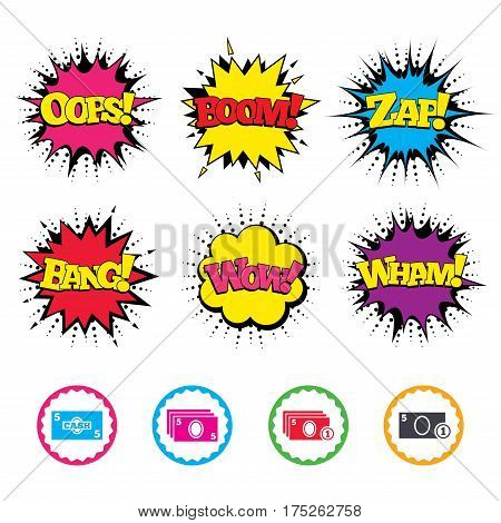 Comic Wow, Oops, Boom and Wham sound effects. Businessman case icons. Currency with coins sign symbols. Zap speech bubbles in pop art. Vector