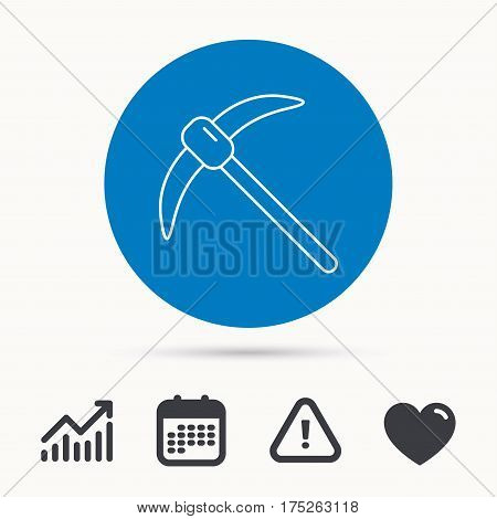 Mining tool icon. Pickaxe equipment sign. Minerals industry symbol. Calendar, attention sign and growth chart. Button with web icon. Vector