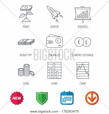 Profit investment, cash money and startup rocket icons. Wallet, currency exchange and euro linear signs. Chart, coins and statistics icons. New tag, shield and calendar web icons. Download arrow