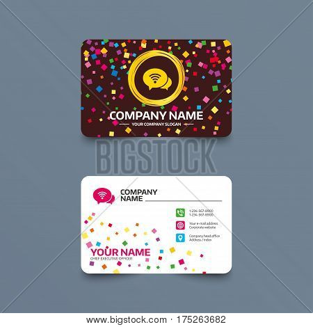 Business card template with confetti pieces. Chat speech bubbles. Wifi sign. Wi-fi symbol. Wireless Network icon. Wifi zone. Phone, web and location icons. Visiting card  Vector