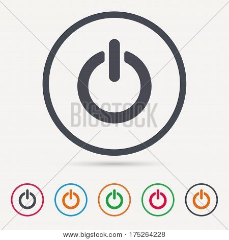 On, off power icon. Energy switch symbol. Round circle buttons. Colored flat web icons. Vector