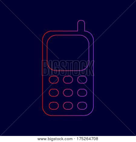 Cell Phone sign. Vector. Line icon with gradient from red to violet colors on dark blue background.