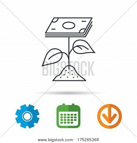 Profit icon. Money savings sign. Flower with cash money symbol. Calendar, cogwheel and download arrow signs. Colored flat web icons. Vector