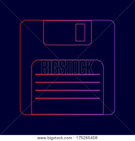 Floppy disk sign. Vector. Line icon with gradient from red to violet colors on dark blue background.