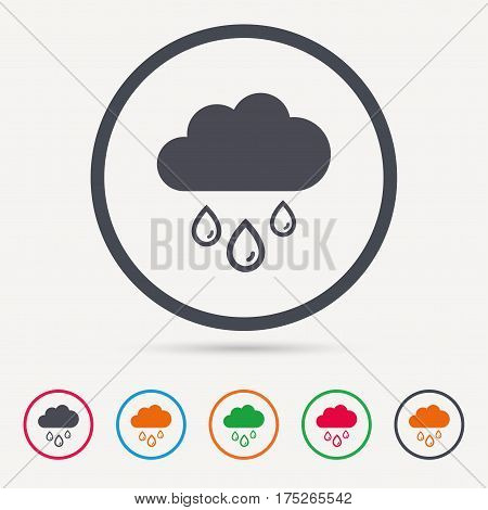 Cloud with rain drops icon. Rainy day symbol. Round circle buttons. Colored flat web icons. Vector
