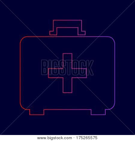 Medical First aid box sign. Vector. Line icon with gradient from red to violet colors on dark blue background.