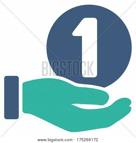 One Coin Payment Hand vector pictograph. Illustration style is a flat iconic bicolor cobalt and cyan symbol on white background.
