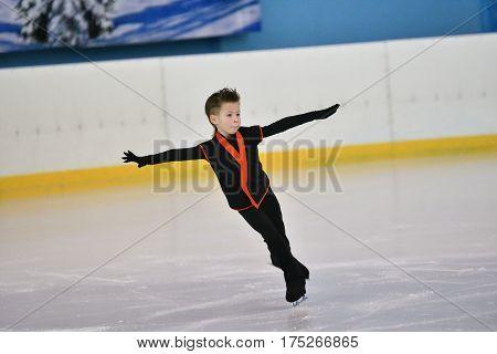 Orenburg, Russia - February 20, 2017 Year: Boys Compete In Figure Skating