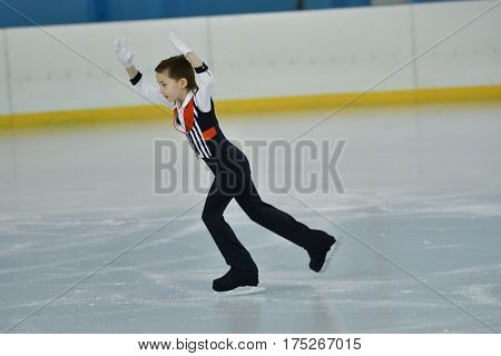 Orenburg, Russia - February 20, 2017 Year: Boys Compete In Figure Skating