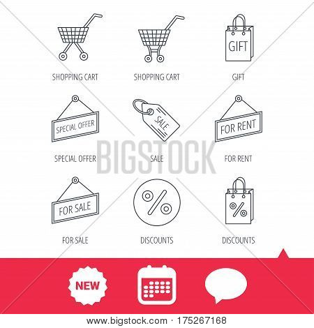 Shopping cart, gift bag and sale coupon icons. Special offer label linear signs. Discount icon. New tag, speech bubble and calendar web icons. Vector