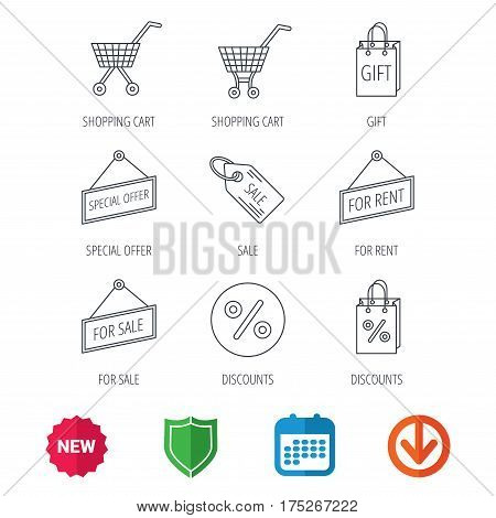 Shopping cart, gift bag and sale coupon icons. Special offer label linear signs. Discount icon. New tag, shield and calendar web icons. Download arrow. Vector